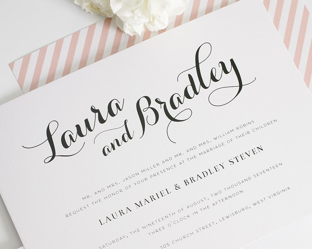 Wedding stationary calligraphy